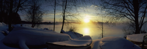 panoramic images snow covered boats at the riverside vuoksi river imatra south karelia southern finland finland Winterizing your Boat